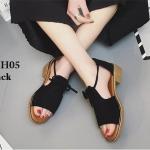 รองเท้าแฟชั่น สไตล์วินเทจ งานผ้าสักหลาดนิ่มๆ แบบสวมเก็บเท้า มีสายรัดส้นเก๋ๆ พื้นยางอย่างดี เสริมส้น 0.5 นิ้ว ทรงสวยเก๋มาก สีดำ ครีม ชมพู (GSH05)