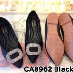 รองเท้าคัทชู ส้นแบน สวยหรู ทรงหัวแหลมแต่งอะไหล่เพชรด้านหน้า หนังนิ่มอย่างดี พื้นบุนิ่ม ใส่สบาย แมทสวยได้ทุกชุด (CA8962)
