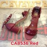 รองเท้าแฟชั่น ส้นสูง สวยเก๋ แบบสวม รัดข้อ แต่งหมุดสไตล์วาเลนติโน หนัง PU อย่างดี ส้นตัด สูงประมาณ 2 นิ้ว ใส่สบาย แมทสวยได้ทุกชุด (CA8536)