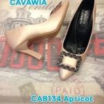 รองเท้าคัทชู ส้นสูง สวยหรู แต่งอะไหล่ด้านหน้า ส้นเหลี่ยมเพิ่มความเก๋ พื้นบุ นิ่ม ใส่สบาย แมทสวยได้ทุกชุด สูงประมาณ 3 นิ้ว (CA8134)
