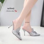 รองเท้าคัทชู เปิดส้น แต่งผ้าซาตินโบว์สวยหรู ทรงสวย หนังนิ่ม ส้นสูงประมาณ 3 นิ้ว ใส่สบาย แมทสวยได้ทุกชุด (A678-62)