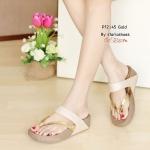 รองเท้าแตะแฟชั่น พื้นซอฟคอมฟอตเพื่อสุขภาพ style fitflop หูหนีบ สวยเก๋ แต่งหนังสีเมทาลิคเงา พื้นรับน้ำหนักดี สายคาดบุนิ่ม ใส่สบาย งานสวย ใส่ได้ทุกวัน สูง 1.5 นิ้ว สีดำ น้ำเงิน ทอง (PF2145)