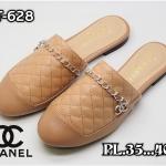 รองเท้าคัทชู เปิดส้น แต่งอะไหล่ CC สไตล์ชาแนลสวยหรู หนังนิ่ม ทรงสวย ใส่สบาย แมทสวยได้ทุกชุด (FT-628)