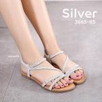 รองเท้าแตะแฟชั่น แบบสวม รัดส้น สายแต่งคลิสตัลเพชรสวยหรู หนังนิ่มอย่างดี รัดส้นยาง ยืดกระชับเท้า ใส่สบาย แมทสวยได้ทุกชุด (3665-83)