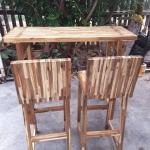 ชุดโต๊ะบาร์เก้าอี้พนักพิงไม้อะคาเซีย