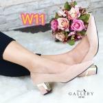 รองเท้าคัทชู ส้นเตี้ย สวยหรู ทรงหัวแหลมเก็บเท้าเรียว ส้นแต่งขอบทองสวยดูดี ส้นสูง ประมาณ 2 นิ้ว ใส่สบาย แมทสวยได้ทุกชุด (G5142)