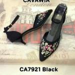 รองเท้าคัทชู ส้นเตี้ย สวยหวาน ทรงหัวแหลมดูเท้าเรียว ด้านหน้าปักลายดอกไม้วินเทนเก๋ดู ดี สายรัดข้อเพิ่มความกระชับ ส้นประมาณ 2 นิ้ว ใส่สบาย แมทสวยได้ทุกชุด (CA7921)