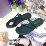 รองเท้าแตะแฟชั่น แบบสวมนิ้วโป้ง สวยหรู แต่งดอกไม้มุกน่ารัก วัสดุอย่างดี งานนำเข้า ใส่สบาย แมทชุดเก๋ได้ทุกวัน (PL806-1)