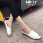 รองเท้าคัทชู เปิดส้น ทรง slip on แต่งกลิสเตอร์ด้านหน้าสวยเรียบเก๋ดูดี ขอบส้นแต่งเชือกถัก หนังนิ่ม ทรงสวย ใส่สบาย แมทสวยได้ทุกชุด (319-1249)