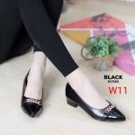 รองเท้าคัทชู ส้นเตี้ย หนังเงาแต่งโซ่สวยหรู ทรงสวย หนังนิ่ม ส้นสูงประมาณ 1.5 นิ้ว ใส่สบาย แมทสวยได้ทุกชุด (DC7160)