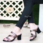 รองเท้าแฟชั่น ส้นสูง แบบสวม หน้าสายไขว้แต่งลายสไตลอิซเซ่สวยเก๋ ทรงสวยเก็บเท้า ส้นตัดสูงประมาณ 2.5 นิ้ว ใส่สบายมาก แมทสวยได้ทุก (MX4022)