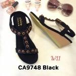 รองเท้าแฟชั่น ส้นเตารีด แบบสวม รัดส้น แต่งอะไหล่สวยเก๋สไตล์โบฮีเมียน หนังนิ่ม รัดส้นยางยืดนิ่ม ทรงสวย สูงประมาณ 2 นิ้ว ใส่สบาย แมทสวยได้ทุกชุด (CA9748)