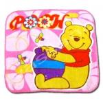 ผ้าเช็ดหน้า สีชมพู ลาย Pooh กับน้ำผึ้ง
