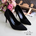 รองเท้าคัทชูส้นสูง หัวแหลม กำมะหยี่นิ่ม งานสวยคลาสสิคที่ใส่ได้ไม่มีเอาท์ สูง 3 นิ้ว ใส่ทำงานใส่เที่ยว ได้ทุกโอกาส สีดำ