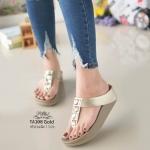 รองเท้าแตะแฟชั่น แบบหนีบ แต่งคลิสตัลสวยหรู พื้นซอฟคอมฟอตนิ่มสไตล์ฟิตฟลอบ ใส่สบาย แมทสวยได้ทุกชุด (TA108)