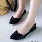 รองเท้าคัทชู ส้นแบน หัวแหลม สวยหรู หนัง PU เนื้อเงา ดีไซน์หน้าวี เรียบเก๋ ทรงเก็บเท้าใส่แล้วเท้าดูเรียว สีดำ ทอง เงิน