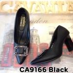 รองเท้าคัทชู ส้นสูง แต่งอะไหล่เพชรด้านหน้าสวยหรู ดีไซน์ส้นเหลี่ยมเก๋ๆ หนังนิ่ม ทรงสวย ส้นสูงประมาณ 4 นิ้ว แมทสวยได้ทุกชุด (CA9166)