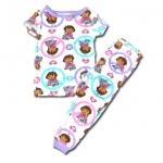 ชุดนอน สีขาว-ม่วง ลาย Dora กับหัวใจ 2T