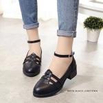 รองเท้าคัทชู ส้นเตี้ย สวยเก๋ รัดข้อ ดีไซน์น่ารักสไตล์เกาหลี หนังอย่างดี เสริม ส้นประมาณ 1 นิ้ว แมทได้สวยทุกชุด (MK118)