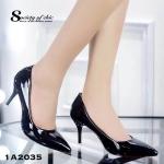 รองเท้าคัชชู ส้นเข็ม เรียบหรู หนังแก้วนิ่มเงาสวย หัวแหลม น้ำหนักเบา พื้นนิ่ม ใส่ได้หลากหลายโอกาส สวยคลาสสิค สูง 3.5 นิ้ว สีดำ