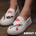 รองเท้าคัทชู slip on แต่งลายสุดเก๋น่ารักสไตล์แบรนด์ หนังนิ่ม ทรงสวย ใส่สบาย แมทสวยได้ทุกชุด