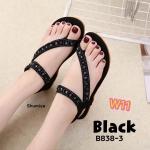 รองเท้าแตะแฟชั่น แบบสวมนิ้วโป้ง รัดส้น ด้านหน้าคาดเฉียงแต่งอะไหล่สวยน่ารัก พื้นนิ่ม รัดส้นยางยืดนิ่ม กระชับเท้า ใส่ง่าย ใส่สบาย แมทสวยได้ทุกชุด (B838-3)