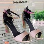 รองเท้าแฟชั่น ส้นสูง รัดข้อ แบบสวม แต่งลายใบใม้สีสันสดใสสีเข้ากันสวยเก๋ลงตัว ส้นสูง ประมาณ 4 นิ้ว แมทสวยได้ทุกชุด (17-3028)