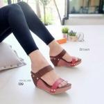 รองเท้าแฟชั่น ส้นเตารีด แบบสวม คาด 2 ตอน ใช้หนัง 2 แบบ ตัดสีทูโทนลง ตัวสุดๆ ใส่สวยแมททุกชุด งานใส่สบายมาก สูง 3 นิ้ว สีดำ ครีม น้ำเงิน แดง น้ำตาล (339)