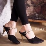 รองเท้าคัทชู เปิดส้น สวยหรู แต่งคาดหน้าเท้าอะไหล่ทอง ใส่กระชับ สวยหรูดูดี ส้นทอง สูง 3 นิ้ว แมทสวยได้ทุกชุด สีแดง ดำ (FHT-001-1)
