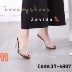 รองเท้าแฟชั่น ส้นสูง แบบสวม สวยหรู คาดหน้าพลาสติกใสแต่งเพชรเข้ากับส้นใสเก๋มาก ส้นตัดสูงประมาณ 4 นิ้ว แมทสวยได้ทุกชุด (17-4087)