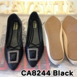 รองเท้าคัทชู ส้นแบน ทรงสวย แต่งอะไหล่เพชรสวยหรู พื้นนิ่ม ใส่สบาย แมทสวยได้ทุกชุด (CA8244)