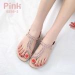 รองเท้าแตะแฟชั่น แบบสวมนิ้วโป้ง คาดเฉียงแต่งคลิสตัลสวยหรู หนังนิ่ม พื้นนิ่ม ใส่สบาย แมทสวยได้ทุกชุด (B256-2)