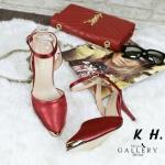 รองเท้าคัทชู ส้นสูง รัดส้น สวยหรู แต่งอะไหล่ทองที่หัวรองเท้าสวยสง่าดูดี พื้นบุนุ่ม ส้นสูง ประมาณ 3 นิ้ว แมทสวยได้ทุกชุด (G5-223)