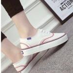 รองเท้าผ้าใบ แบบผูกเชือก สไตล์ Keds รุ่นใหม่ สวยเก๋ งานชนช็อป พื้นหนา 1 นิ้ว งานสวย มาพร้อมลายปักแต่งสี แมทเก๋ได้ทุกชุด สีดำ แดง ขาว (6059)