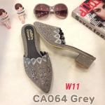 รองเท้าคัทชู เปิดส้น แต่งกลิสเตอร์และคลิสตัลสวยหรู หนังนิ่ม ทรงสวย ส้นสูงประมาณ 1.5 นิ้ว ใส่สบาย แมทสวยได้ทุกชุด (CA064)