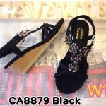 รองเท้าแฟชั่น ส้นเตารีด รัดส้น แบบสวม แต่งอะไหล่ดอกไม้สวยน่ารัก รัดส้นยางยืดนิ่มกระชับเท้า พื้นนิ่ม ส้นสูงประมาณ 2 นิ้ว ใส่สบาย แมทสวยได้ทุกชุด (CA8879)