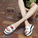 รองเท้าแฟชั่น แบบสวม ส้นมัฟฟิน แต่งลายปักดอกกุหลาบสวยเก๋ ใส่สบาย แมทสวยได้ทุกชุด