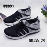 รองเท้าผ้าใบแฟชั่น แต่งลายสวยเก๋ ผ้าหนานุ่ม ไร้เชือก ใส่ง่าย วัสดุอย่างดี ทรงสวย ใส่สบาย ใส่เที่ยว ออกกำลังกาย แมทสวยเท่ห์ได้ทุกชุด (bb594)