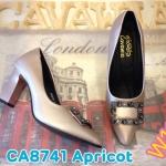 รองเท้าคัทชู ส้นสูง แต่งอะไหล่หรูด้านหน้า ทรงหัวแหลมดูเท้าเรียว หนังนิ่มอย่างดี พื้นนิ่ม ส้นตัดดีไซน์เก๋ สูงประมาณ 4 นิ้ว แมทสวยได้ทุกชุด (CA8741)