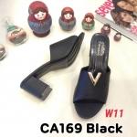 รองเท้าแฟชั่น ส้นสูง แบบสวม แต่งอะไหล่ V เรียบเก๋ดูดี หนังนิ่ม ทรงสวย สูงประมาณ 3 นิ้ว ใส่สบาย แมทสวยได้ทุกชุด (CA169)
