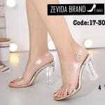 รองเท้าแฟชั่น ส้นสูง รัดส้น ดีไซน์สุดเก๋สไตล์รองเท้าแก้ว คาดพลาสติกใสนิ่มด้านหน้า โชว์เรียวเท้า ส้นใสสวยหรุ ส้นสูงประมาณ 4 นิ้ว ใส่สบาย แมทสวยได้ทุกชุด (17-3026)