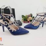 รองเท้าคัทชู ส้นสูง รัดข้อ แต่งหมุดสวยหรูสไตล์วาเลนติโน หนังนิ่ม ใส่สบาย ทรงสวย ส้นสูงประมาณ 3 นิ้ว แมทสวยได้ทุกชุด (K9146)