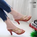 รองเท้าแฟชั่น ส้นสูง แบบสวม ดีไซน์หน้าไขว้เรียบเก๋ หนังนิ่ม พื้นนิ่ม ทรงสวย สูง 3.5 นิ้ว ใส่สบาย แมทสวยได้ทุกชุด (2304)