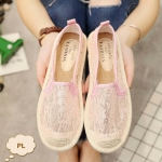 รองเท้าคัทชู ทรง slip on ลายลูกไม้สวยหวาน ขอบพื้นแต่งเชือกถักสวยเก๋ ใส่สบาย แมทสวยได้ทุกชุด