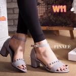 รองเท้าแฟชั่น ส้นสูง แบบสวม รัดข้อ สายคาดเฉียงแต่งหมุดสวยเก๋ สไตล์วาเลนติโน ทรง สวยคลาสสิค ส้นตัดสูงประมาณ 2.5 นิ้ว เดินง่าย แมทเก๋ได้ทุกชุด (FH-455)