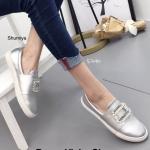 รองเท้าคัทชู ทรง slip on แต่งคลิสตัลเพชร สไตล์ roger vivier ทรงสวย ใส่สบาย แมทสวยได้ทุกชุด (168-322)