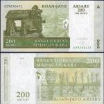 ธนบัตรประเทศ มาดากัสการ์ ชนิดราคา 200 Ariary (อเรียรี่) [1,000 Francs] รุ่นปี พ.ศ.2547 (ค.ศ.2004)