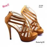 รองเท้าส้นสูง สไตล์เกาหลี งานนำเข้า คาดหน้าหนังเส้นสานทรงเก๋ๆ หุ้มเก็บ เท้าได้ดี แต่งซิปหลังใส่ง่ายถอดง่าย ทรงสวยมากๆ ใส่ออกงานใส่เที่ยวสวยเริ่ด ส้นสูง 5 นิ้ว เสริมหน้า 1.5 นิ้ว สีดำ ตาล