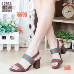 รองเท้าแฟชั่น แบบสวม รัดส้น สวยเก๋ แต่งแถบสีสไตล์แบรนด์ ใส่สบาย ส้นตัดสูงประมาณ 2.5 นิ้ว ใส่ง่าย แมทสวยได้ทุกชุด (L2944)