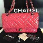 "Chanel Classic 10"" Pink Patent Holo14"